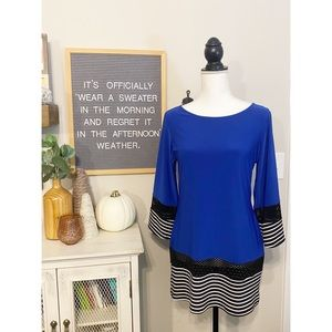Coco Bianco Blue, Black and White Tunic Size S